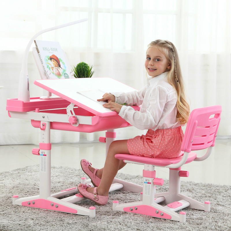 лучшая цена New high quality adjustable height protection vision correcting sitting posture children learning desk and chair set.