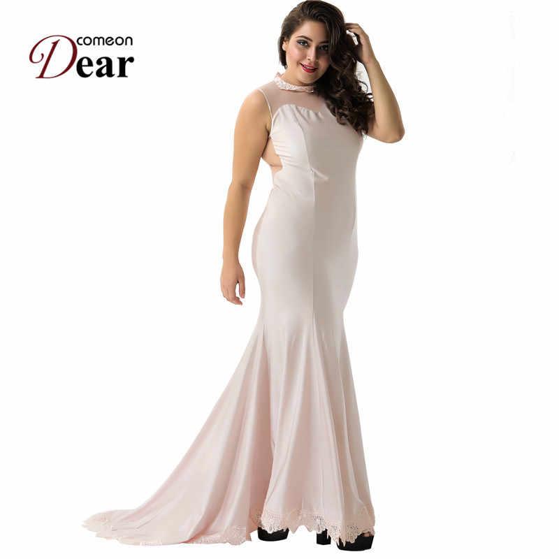 7d6896601b552 Comeondear Elegant Lace Top Party Maxi Dress Fashionable Formal Dress Robe  Backless Sleeveless Femme Vestido De Festa Longo