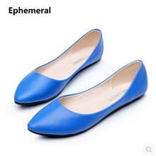 Lady's Retro Plus size 46 45 2017 New fashion Pointed toe Women Casual driving shoes flats blue grey black high quality slip-ons