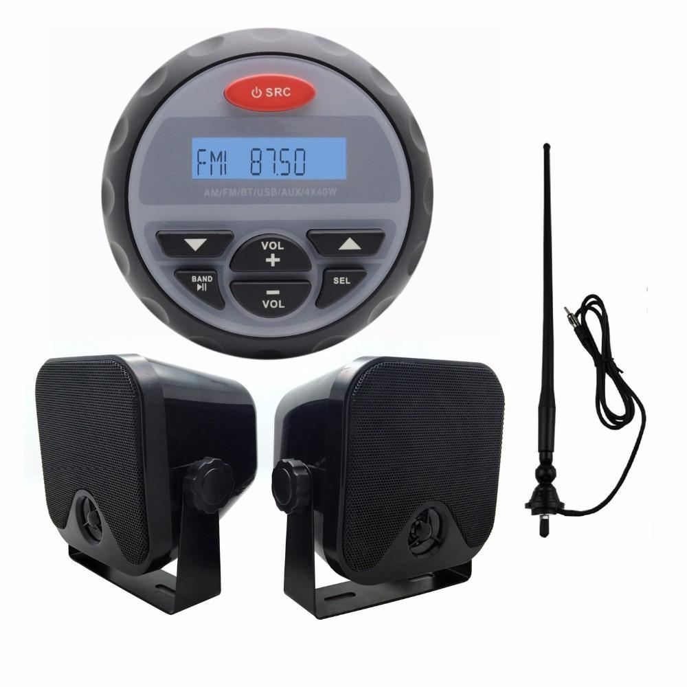 4.5″ Waterproof Marine Radio FM AM Audio Bluetooth Stereo for Boat ATV RZR+Waterproof Marine Speakers+Black Antenna