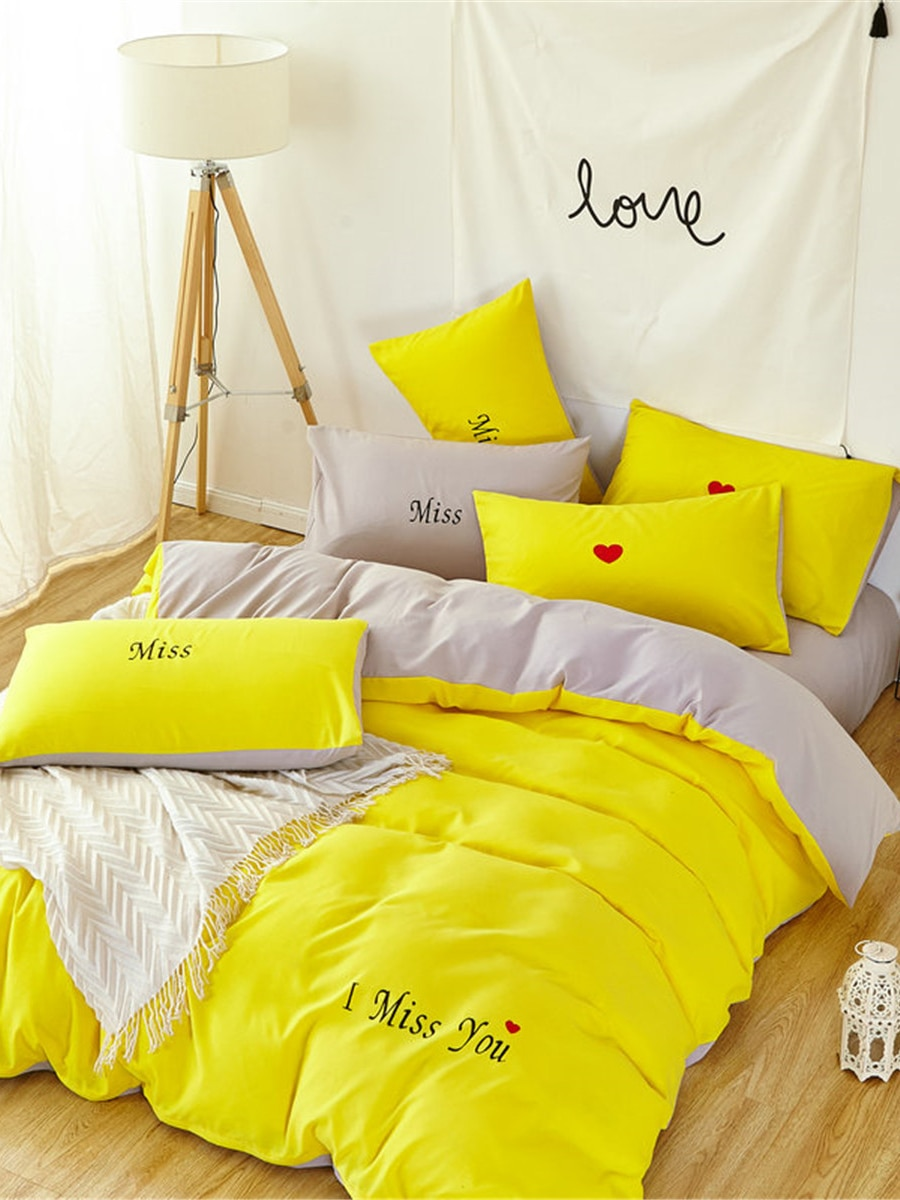 4 Pcs Duvet Cover Set Lovely Simple Style Fashion Bedding Set 4 Pcs Duvet Cover Set Lovely Simple Style Fashion Bedding Set