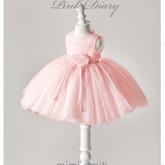 Baby Kids Dress Flower Girls Cute Solid Children Dress O-Neck Ball Grown Princess Party Baby Clothes for 3-24 month