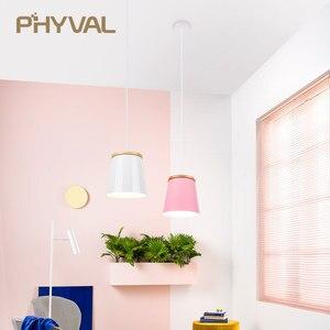 Image 3 - Lampe suspendue en bois et en fer au design nordique moderne, luminaire dintérieur en aluminium, LED ampoules, idéal pour une chambre à coucher ou une cuisine, E27