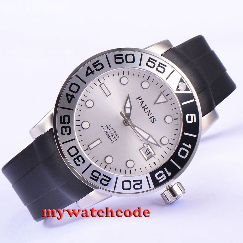 42mm Parnis silver dial Sapphire glass 21 jewel Miyota automatic mens watch P531 42mm parnis withe dial sapphire glass miyota 9100 automatic mens watch 666b
