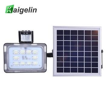 Kaigelin 2pcs 20W DC12V LED Solar Floodlight Outdoor LED Lighting With PIR Motion Sensor 6000K-6500K LED Lamp Solar Spotlight