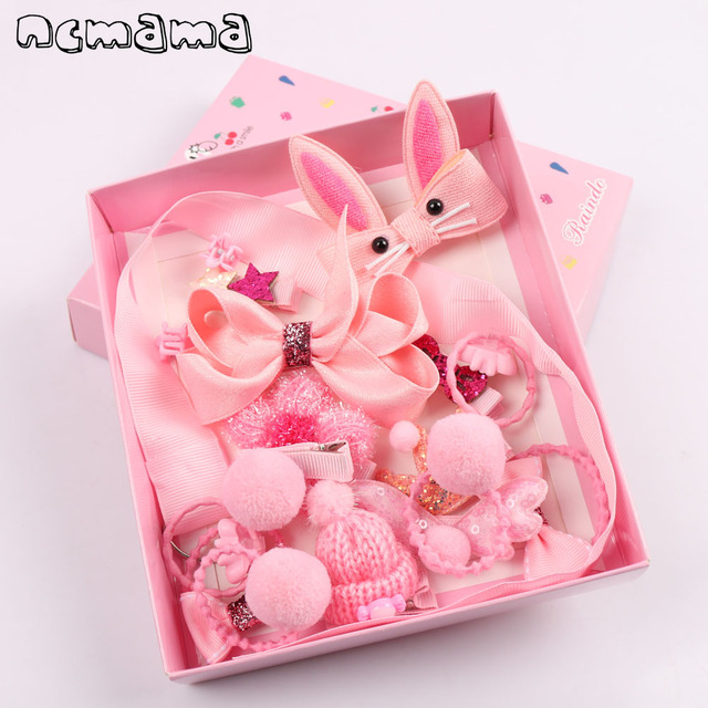 18pcs Set Mix Style Girls Hair Bows Kit With Full Covered Clips