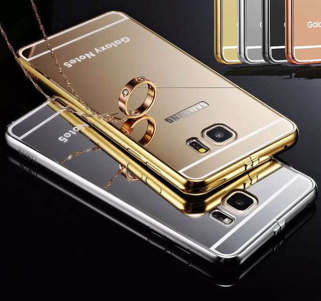 Gold Glossy Mirror Case for iPhone 6 Plus 6 6s 5S 5 Samsung Galaxy S6 Edge  Plus Note 5 Aluminum Metal Border Mirror Rose Fundas 10c385fd39
