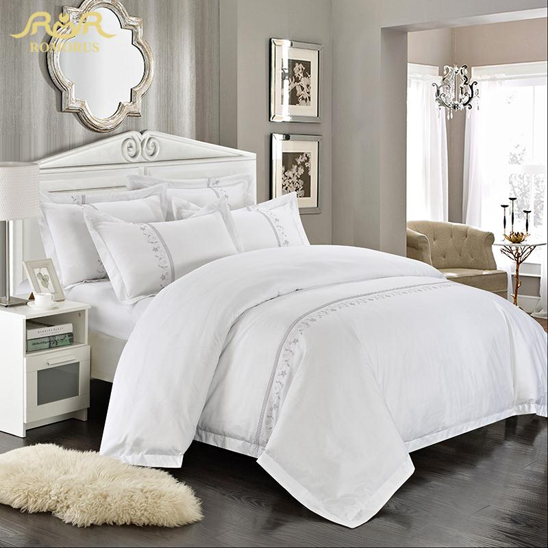 romorus wholesale hotel bedding set 4 6 pcs white king queen size 100 cotton embroidered tribute silk quality bed linen sets