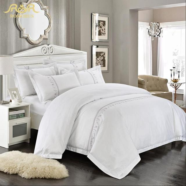 buy romorus wholesale hotel bedding set 4 6 pcs white king queen size 100. Black Bedroom Furniture Sets. Home Design Ideas