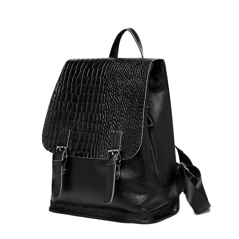 2017 All match Simple Backpack Women Soft 100 Genuine Leather Backpack Crocodile Pattern High Quality Bagpack