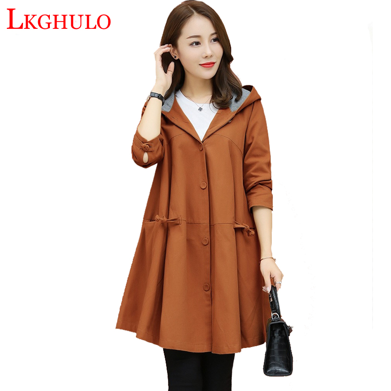 Spring Autumn Cloak Large size   Trench   Coat Female single-breasted Windbreaker long-sleeved Hooded Ttrench Coat W735