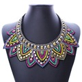 New Colorful Fashion Leaf Rhinestone Resin Short Women Collar Choker Necklace Statement Jewelry NK503