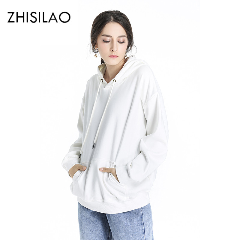 ZHISILAO 2018 Winter White Woman Hoodie Maxi Ulzzang Chic Hoodie Kpop Sweatshirt Harajuku Oversize Hoodies Winter Hoody