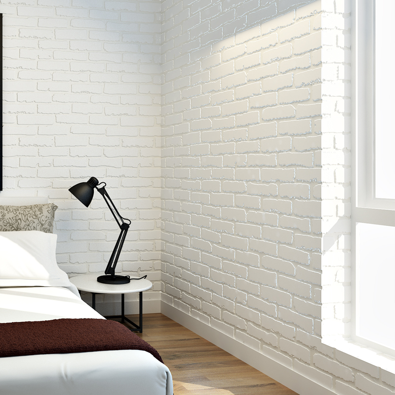 Buy 10m modern 3d brick white non woven for Wall to wall wallpaper