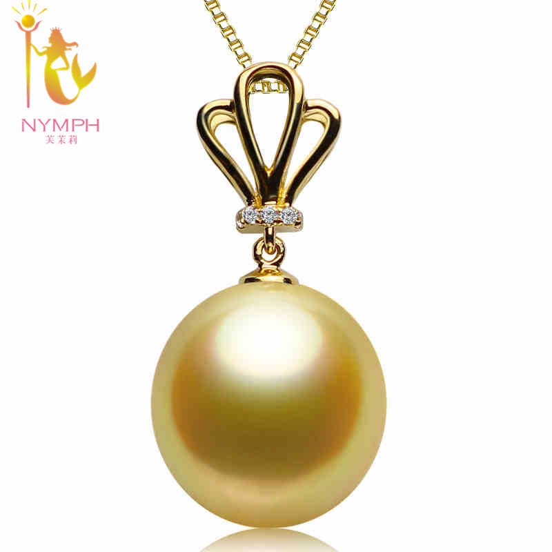 [NYMPH] Pearl Jewelry Fine Jewelry 18K Yellow Gold Natural Gold South Sea Pearl Necklace Pendant for women [HGJX] nymph brand 18k 9 10mm pearl pendant necklaces for women yellow gold pearl fine jewelry gift party luxury lifestyle