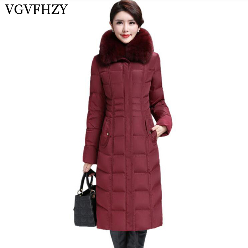 new 2017 Winter Women's Plus size M-6XL Large Fox Fur Collar Thickening White Goose   Down     Coats   Women's   Down   Jackets Parka LY666
