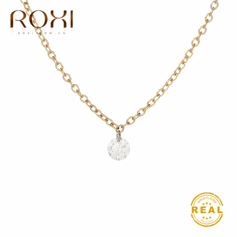 ROXI White Zircon Crystal Necklace Women Simple Link Chain Minimalist Round Rhinestone Pendant Korea Jewelry
