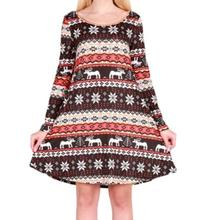 S-2XL women o neck long sleeve dress casual leisure floral print autumn winter national style