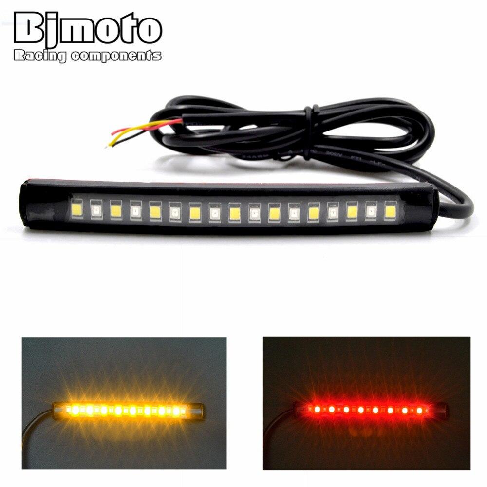 BJMOTO Universal LED Car Motorcycle Tail Brake Lights Turn Signal Light  Strip 17 Leds License Plate Light Flashing Stop Lights