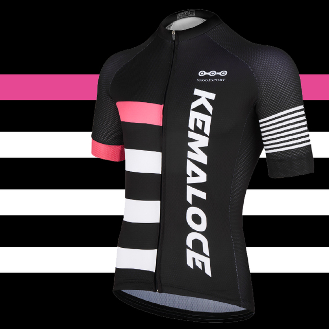 Kemaloce Uv-Protection Sport Plain Cycling Jersey Team Black Pink Classic  Road Sport Bike Jersey Unisex Quick Dry Bicycle Shirts e5b4ed249