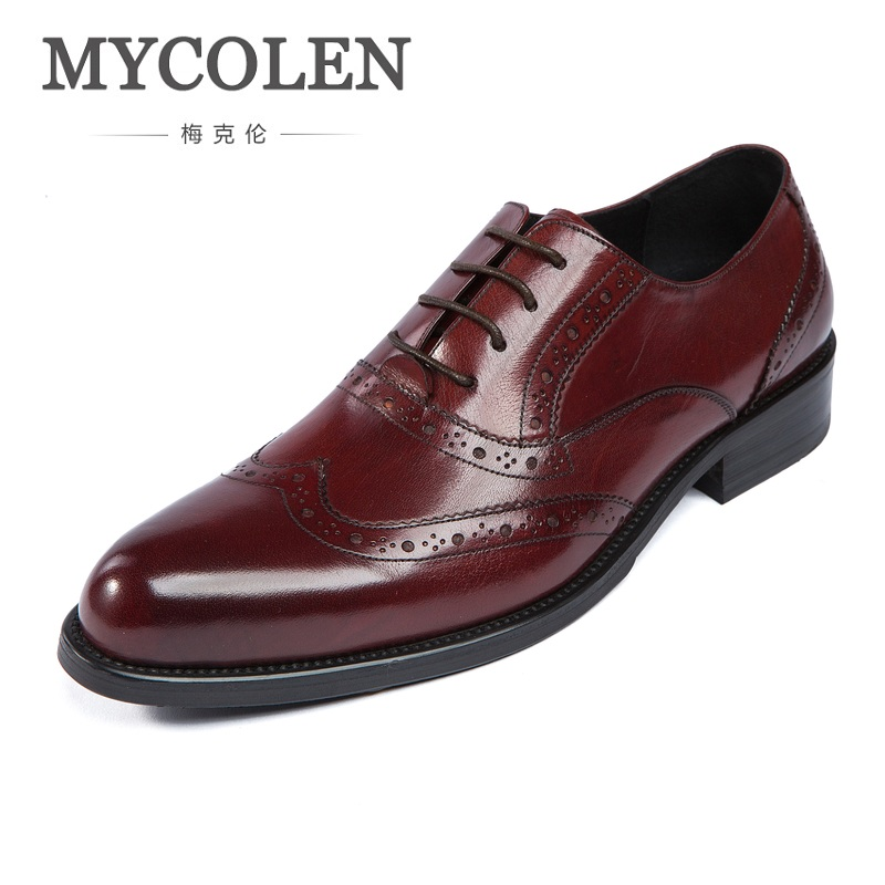 MYCOLEN New Italian Dress Shoes Men Genuine Leather Brown Black Lace Up Business Fashion Carved Wedding Shoes Male Shoes pjcmg new arrival oxfords men shoes genuine leather wingtip carved lace up vintage fashion wedding business male shoes men flats