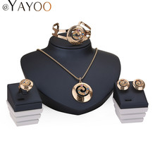 AYAYOO Jewelry Sets For Women Wedding Dress Zinc Alloy Pendant Necklace Earrings Rings Bracelet Jewellery Accessories Holiday