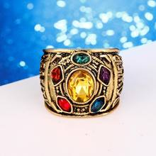 SC HOT The Avengers 3 Infinity War Rings Gold Thanos Infiniter Power Gauntlet Crystal Cosplay Ring high quality Men Jewelry(China)