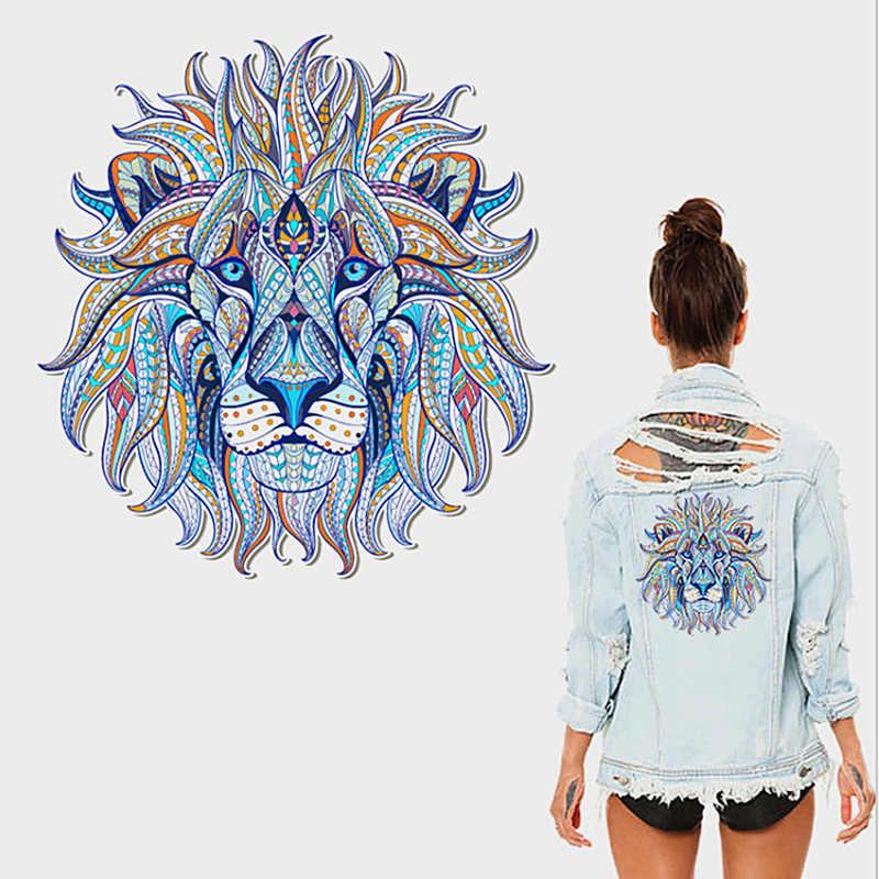 Vendita 1 PC Eco-Friendly T-Shirt Ferro-on Re Adesivi Per Magliette e camicette Tranfer di Calore Stampa FAI DA TE di Pirografia Lion3D Vestiti Cool toppe e Stemmi