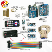 IR Control Kit with IR Receiver+ UNO Board+ Motor Driver Board+Ultrasonic Sensor+Buzzer+ Dupont Line for Arduino RC Car DIY Set