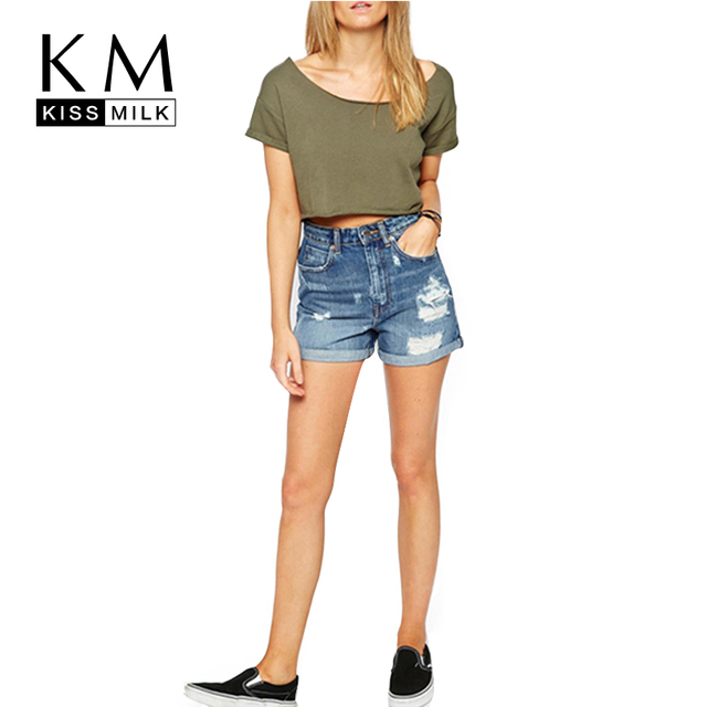 Kissmilk Plus Size New Fashion Women Blue Vintage Mini Pants High Waist Big Size Solid  Polyester Denim Shorts 3XL 4XL 5XL 6XL