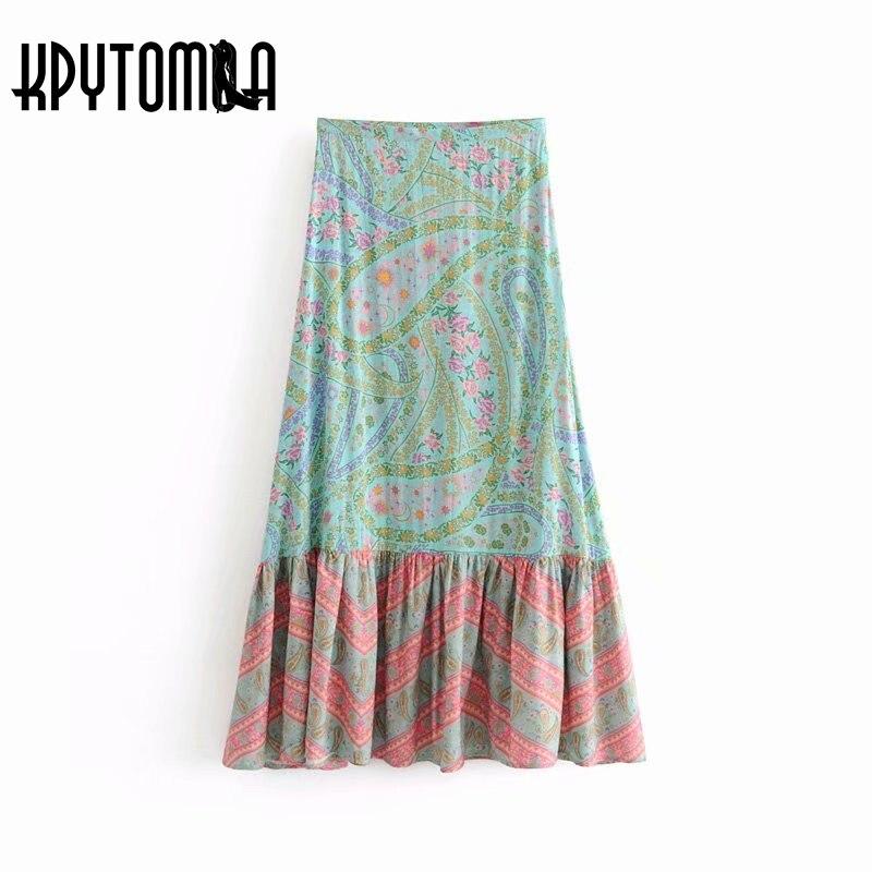 Boho Vintage Floral Print Pleated Long Skirt Women 2018 New Fashion Side Zipper Summer Beach Ladies Skirts Casual Saias Mujer