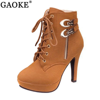 Ladies Shoes Women Boots Thin High Heels Platform Buckle Zipper Metal Sapatos Femininos Lace Up Leather