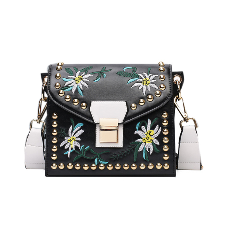 Women Leather Messenger Bag Flower Handbag Ladies Small Crossbody Shoulder Bags Girls