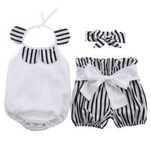 Одежда для новорожденных девочек топы+ шорты в полоску+ комплект из 3 предметов, новинка года, летний комплект из 3 предметов