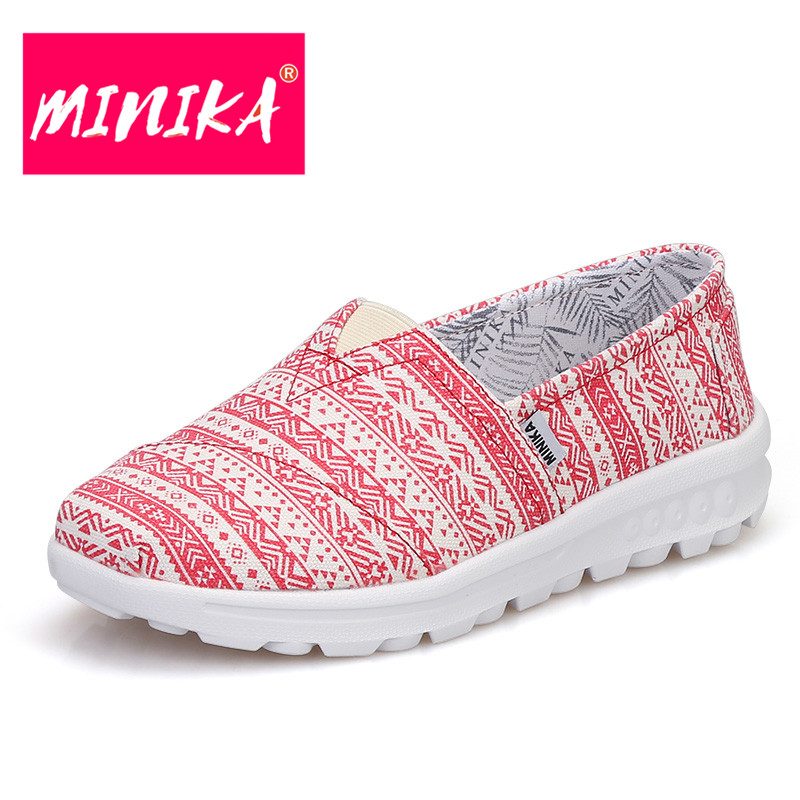 MINIKA Soft & Light Women Fashion Loafers Slip On Shallow Mouth Women Casual Shoes Indoor Breathable Flat Shoes For Women minika women shoes flats loafers casual breathable women flats slip on fashion 2017 canvas flats shoes women low shallow mouth