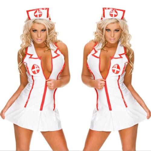 3 Pcs Sexy Hot Sale White Doctor Nurse Uniform Costume Adult Women Outfit Charming Dress Cloth Set Cap Panty Dress One-size