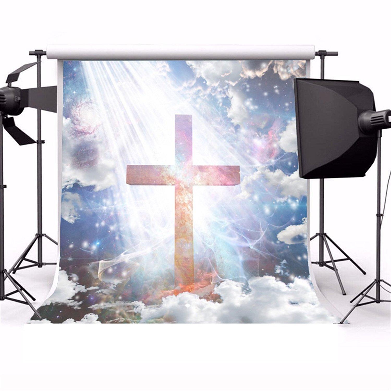 Защита от солнца христианский крест небесно-Святой небо луч света облако религиозных распятие Задний план Виниловая Ткань Компьютер печат...