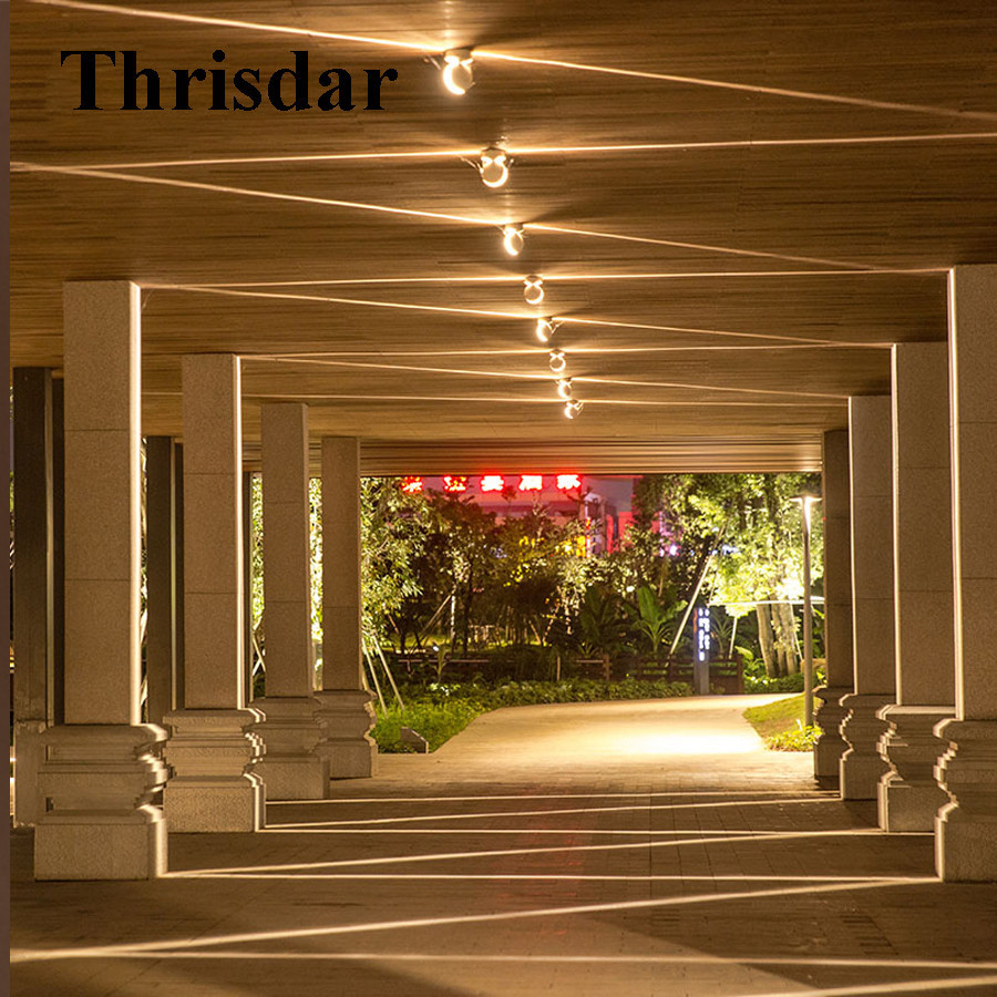 Thrisdar Outdoor LED window Sill Spotlight Door Frame Line Wall Light Hotel Aisle Column Corridor curved Beam Ray Lamp