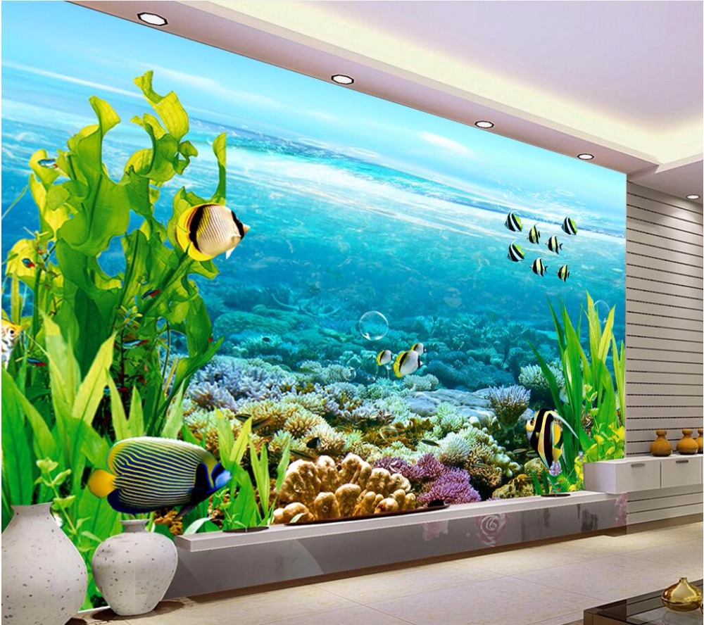 Custom mural photo 3d room wallpaper sea water fish home for Decorative mural painting
