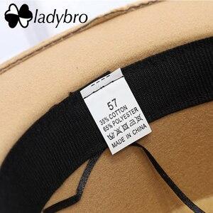 Image 5 - Мужская фетровая шляпа Ladybro, плоская шляпа с широкими полями, имитация шерсти, для женщин и мужчин
