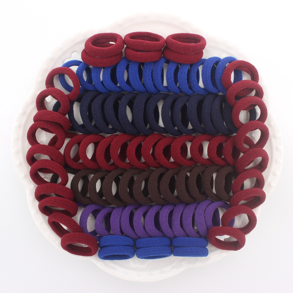 100pcs/lot Red Wine Navy Deep Coffee Royal Blue And Deep Purple Colors Mix Kids Elastic Hair Bands Hair Accessories For Girls Relieving Heat And Thirst. Hair Accessories Mother & Kids