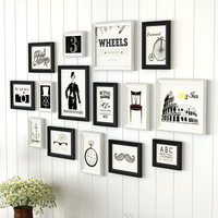 15pcs/set Black White Simple Picture Frame Decorate Wall Sofa Background Family Photo Frames DIY Poster Frame Combination marcos