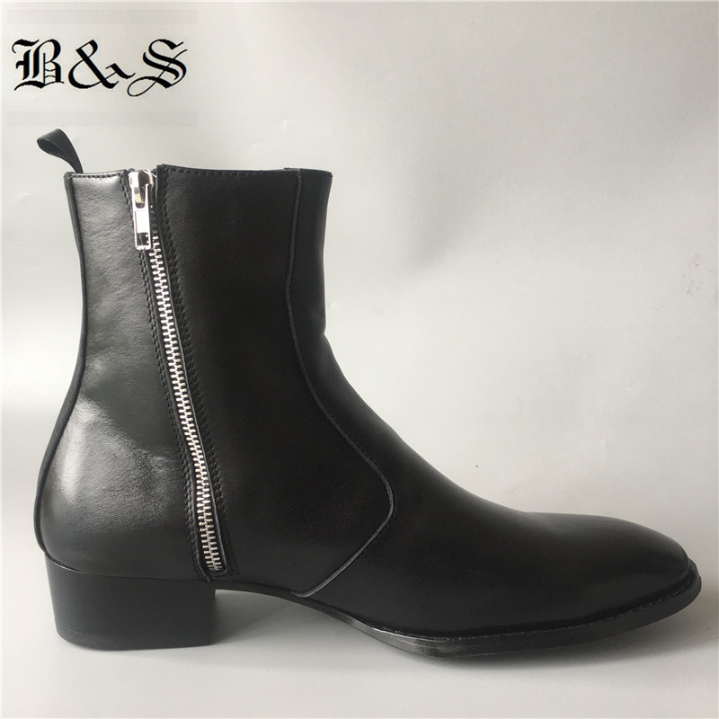 Black& Street New Slim Fit  wedge Luxury genuine Leather Chelsea Zipper Boots 4cm heel High Men Dress wedding business BootsBlack& Street New Slim Fit  wedge Luxury genuine Leather Chelsea Zipper Boots 4cm heel High Men Dress wedding business Boots