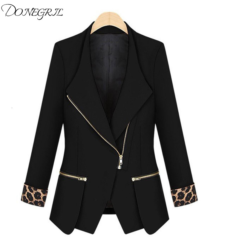 Blazer Woman Slim Zipper Small blazer Asymmetrical Long Jacket 2018 New Arrival Casual Spring Autumn Cardigan Suit