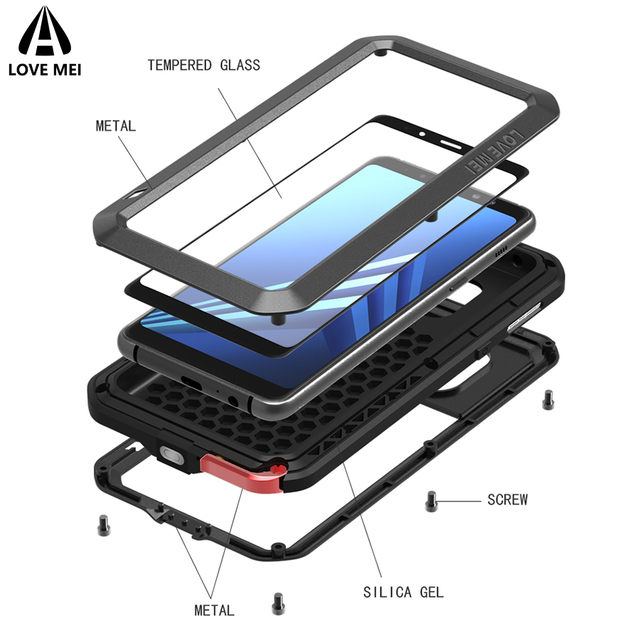hot sale online 288a2 67d6d US $28.0 20% OFF|Love Mei Case For Samsung Galaxy A8 2018 Cover Metal Armor  Shockproof Case For Galaxy A8 Plus 2018 Aluminum Waterproof Cover-in ...