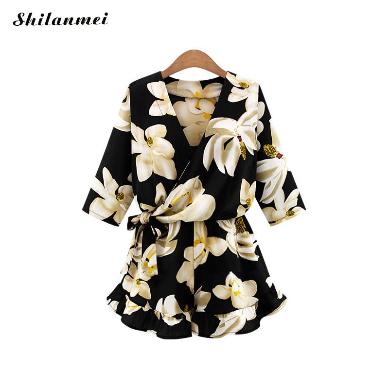 2018 Boho black Floral Print Ruffles Playsuits Women Elegant White V Neck Jumpsuits Rompers Sexy Short elastic waist Overalls