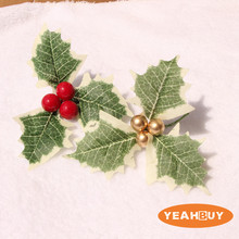 1.2cm Christmas Berries with Leaves Tree Decorations Artificial DIY Holiday Gifts Cute Plants Free Shipping