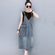 Spaghetti Strap Pockets Summer Style Loose Jeans Dress Preppy Suspender Overall Dress