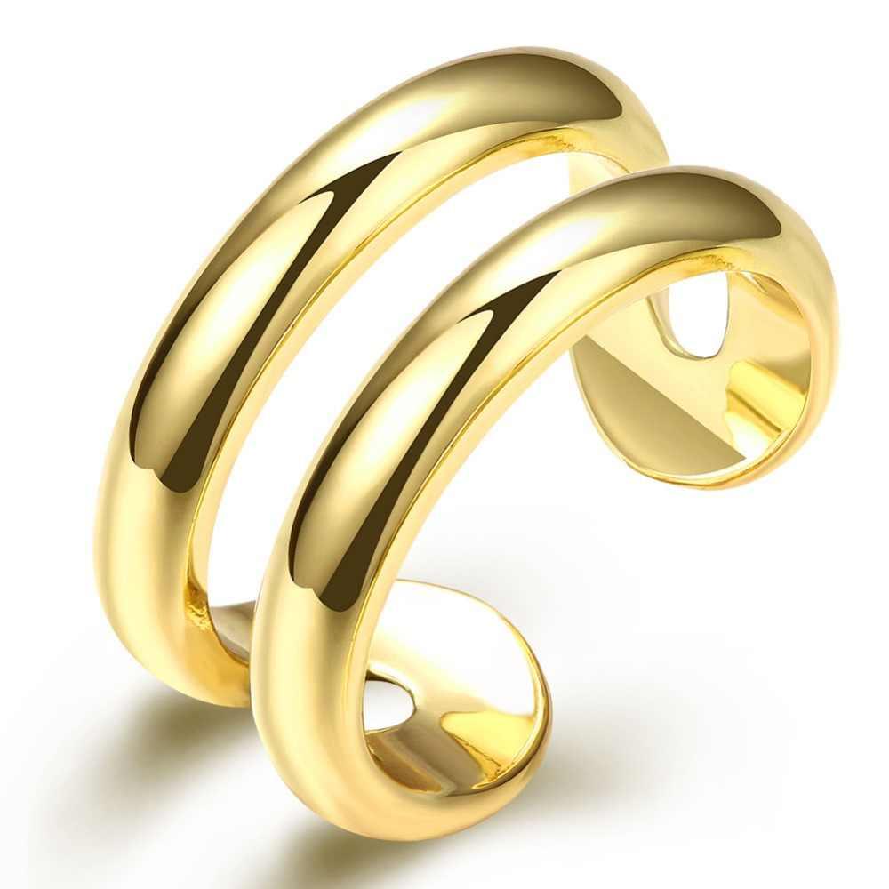 R038 כסף מצופה טבעות נשים חתונת כלה תכשיטים, קו כפול טבעת-נפתח חתונה טבעות anelli