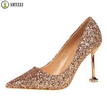 цена на Luxury Brand 2019 Design Elegant Evening Party Wedding Bridal Wear Bling Women Pumps Shoes Lady Female Pointed High Heels Shoes